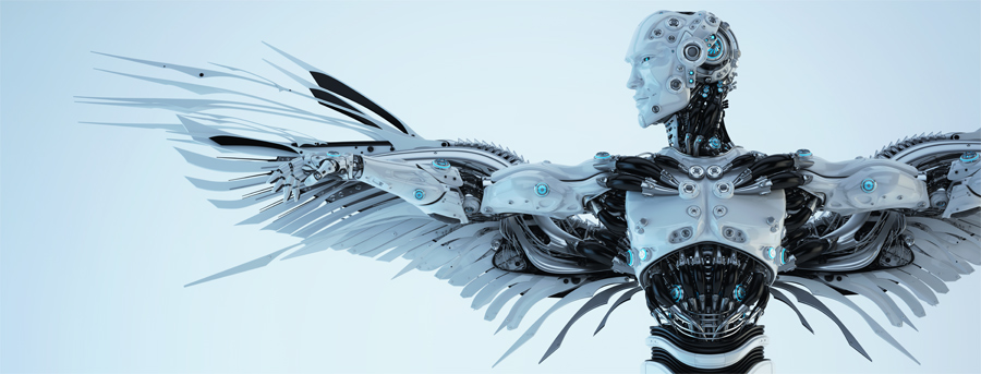 ikar robotic man with wide-open arms- wings