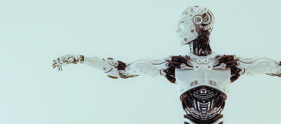 humanlike robot with streched arms. Handsome futuristic cyber man