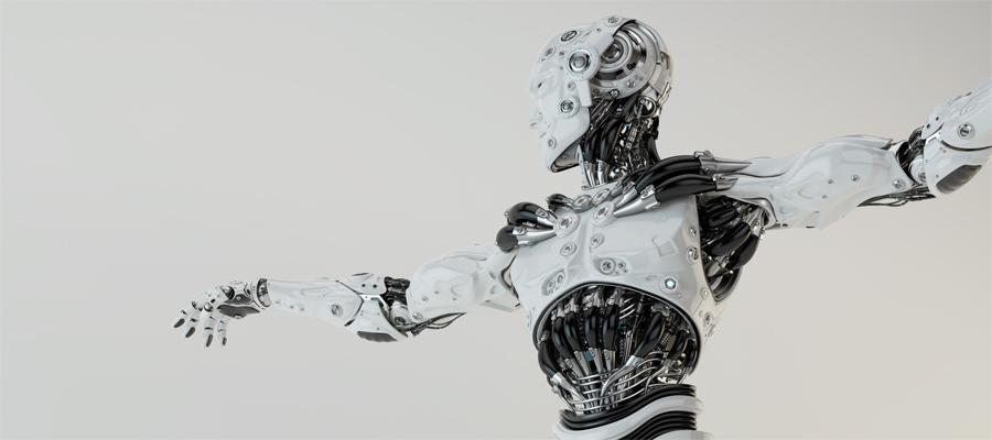 Stylish robotic humanlike man with lifted arms