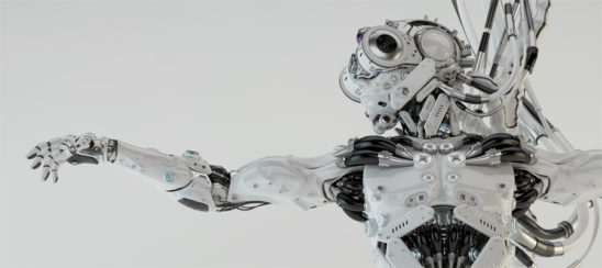 Handsome robotic character - dragonfly with stretched arms and wired connection