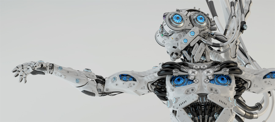 New generation robotic character with virtual reality helmet and cooling fans