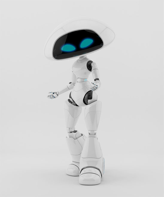 Lovely ufo robotic girl character gesturing