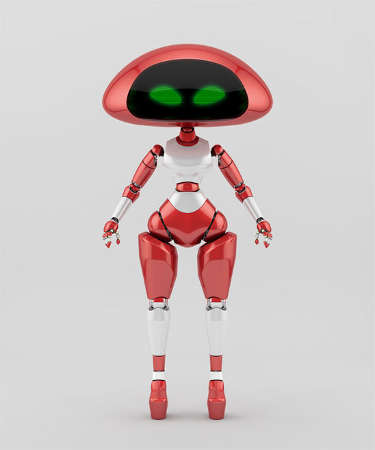 Sweet cherry ufo robotic girl character
