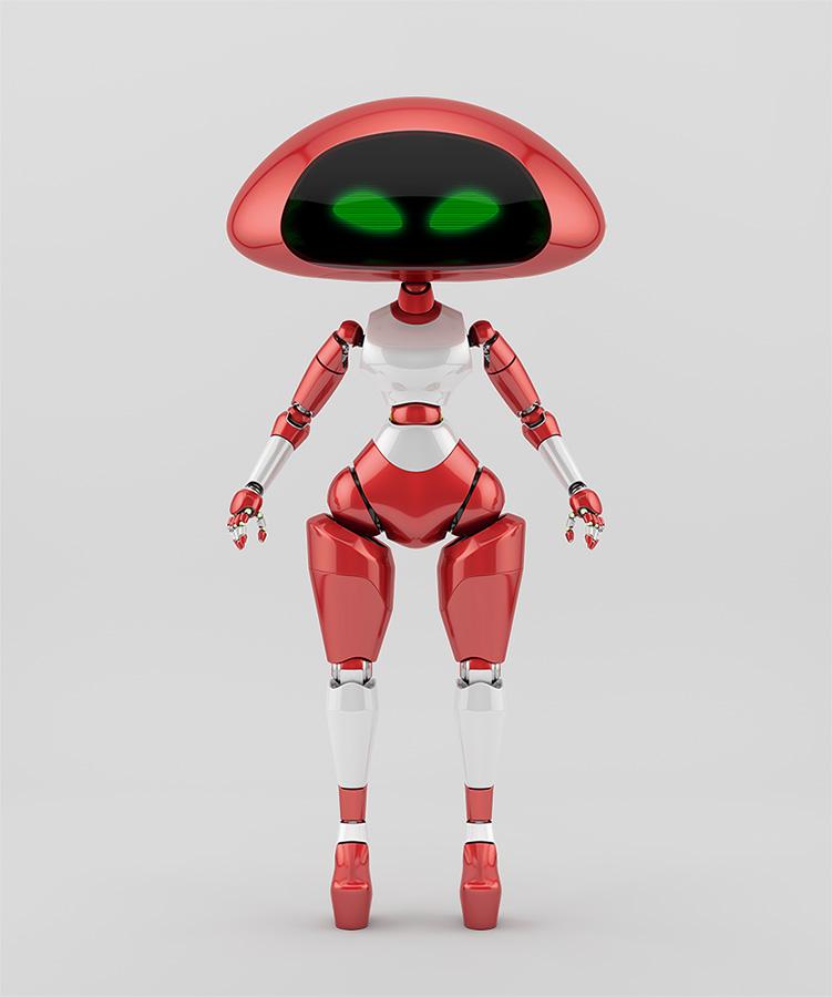 Sweet cherry ufo robotic girl character
