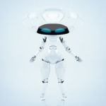 Elegant white ufo robotic girl character with big plate head down