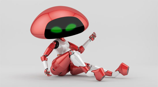 Sexy cherry ufo robot girl sitting