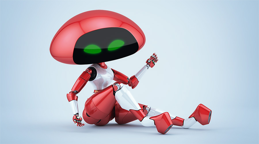 Sexy, charming cherry ufo robot girl sitting