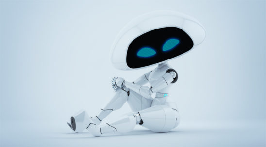 Charming white alien robotic girl sitting