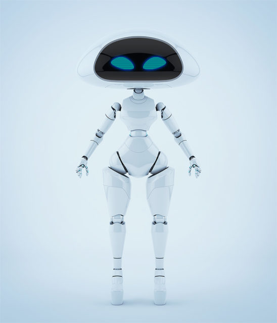 Modern ufo robotic girl character in front