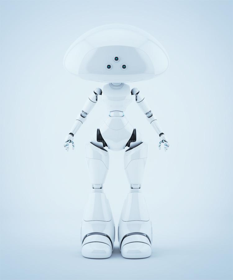 White fresh mushroom lady robot