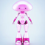 Pink unusual mushroom lady robot with two little eyes