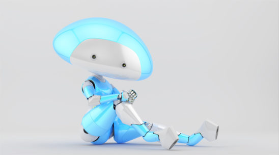White-blue mushroom lady robot in sexy sitting pose