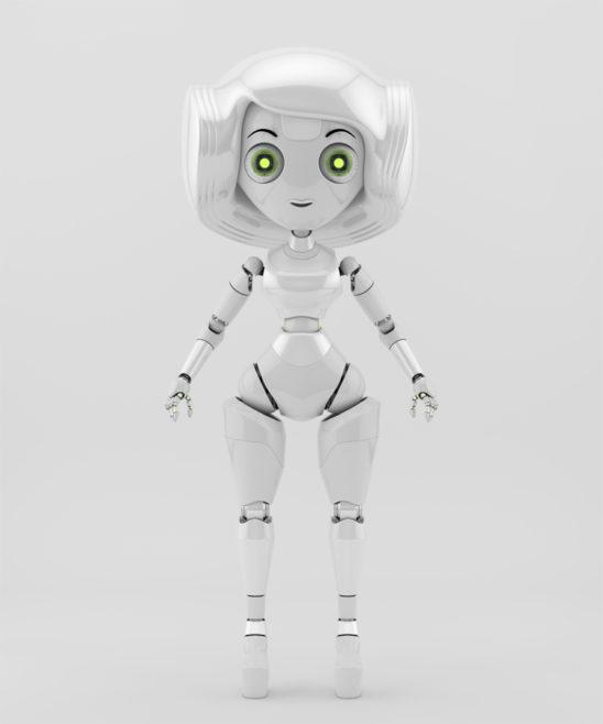 Trendy robotic girl in white