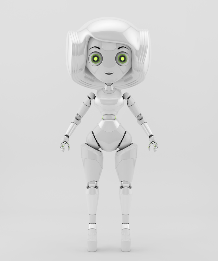 Trendy robotic girl in white