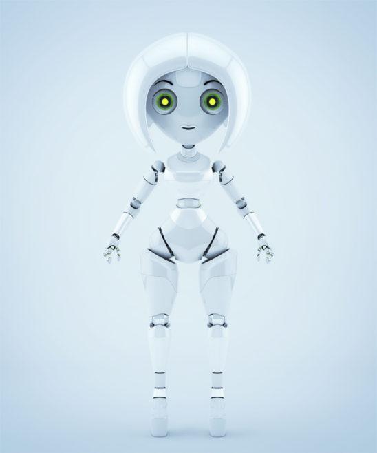 Stylish girl robotic character
