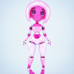Trendy pink robotic girl on high heels
