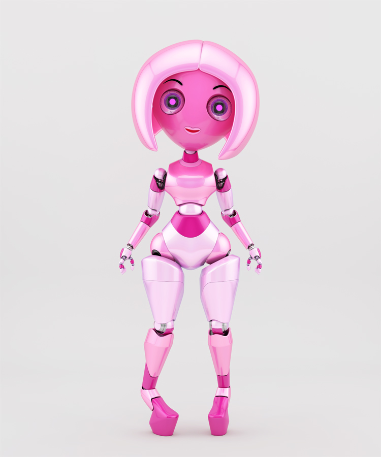 Trendy pink robotic girl on high heels