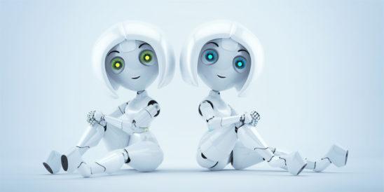 Two sitting sexy trendy girls robots