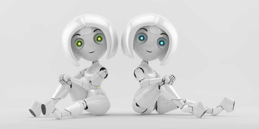 Two sitting sexy trendy girls robots back to back