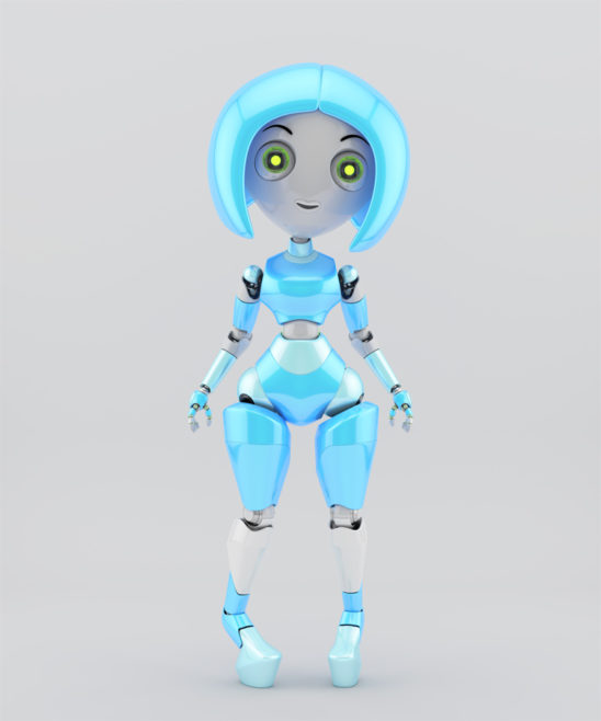 Trendy robotic girl on high heels slightly toed