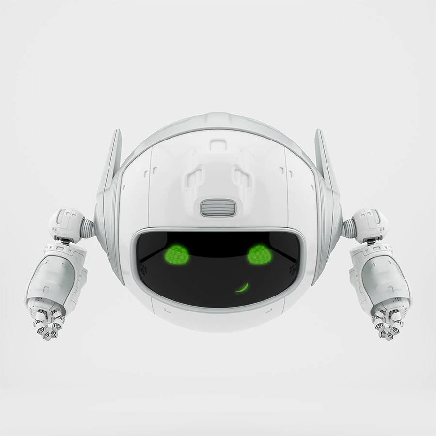 Cute aerial robotic unit smiling