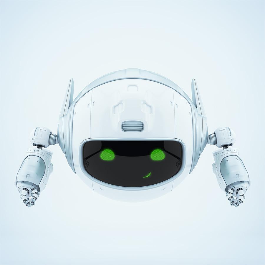 Cute aerial robotic unit smiling
