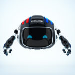Cutan black aerial policeman robot