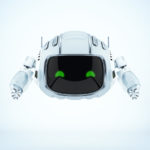 Lovely robot CUTAN with green digital eyes and two little antennaes with wifi signal