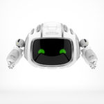 Aerial robotic character in white with led screen - CUTAN