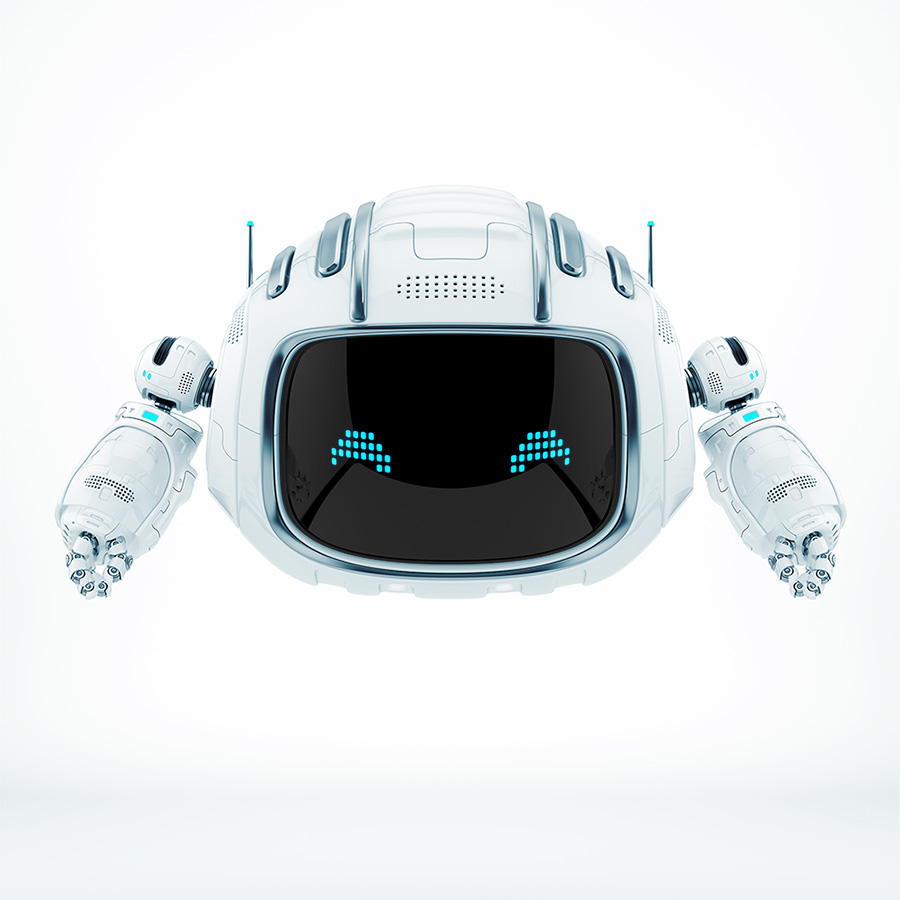 FUturistic aerial robot toy with blue led pixel eyes on digital face screen