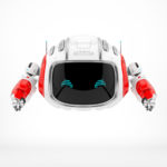 Modern Cutan robotic toy in white with red accents