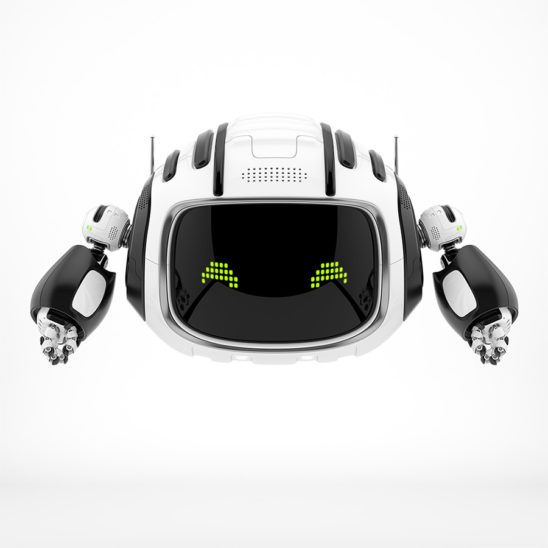 Black-white aerial robot with green pixel eyes