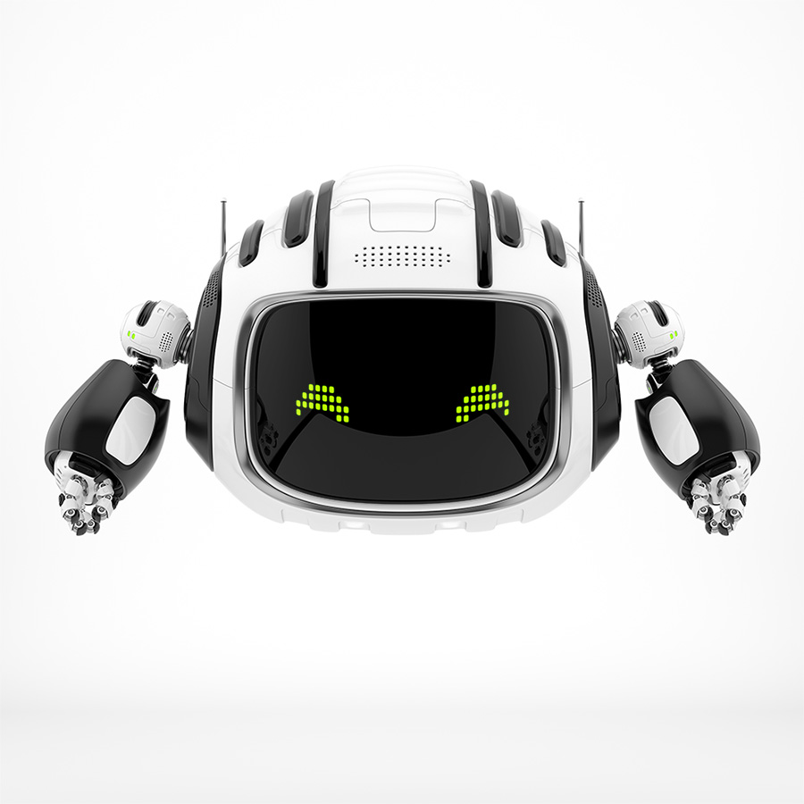 Black-white aerial robot with green pixel eyes