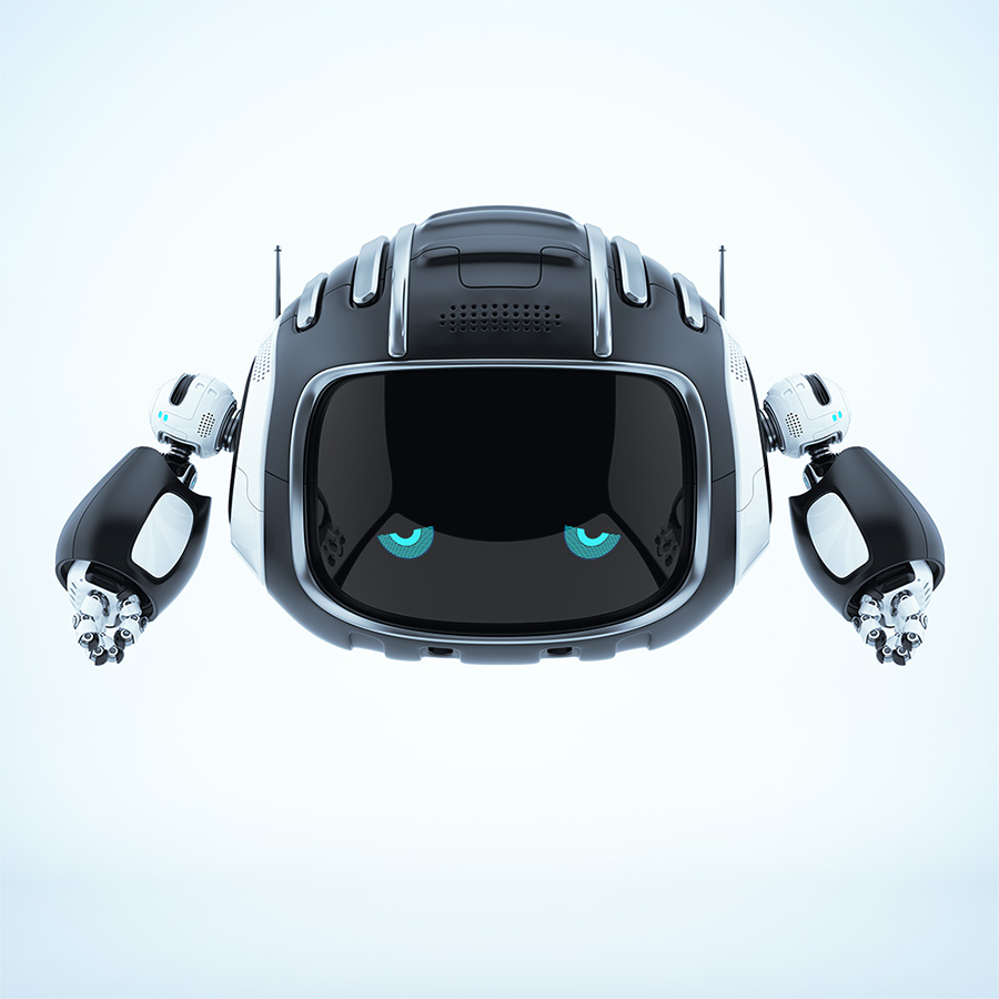 Robotic cutan creature with blue 2d eyes on digital face screen and tired emotion