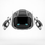 Robotic cutan with blue 2d eyes