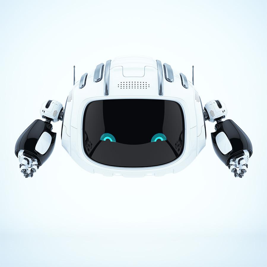White aerial cutan robot with blue 2d eyes
