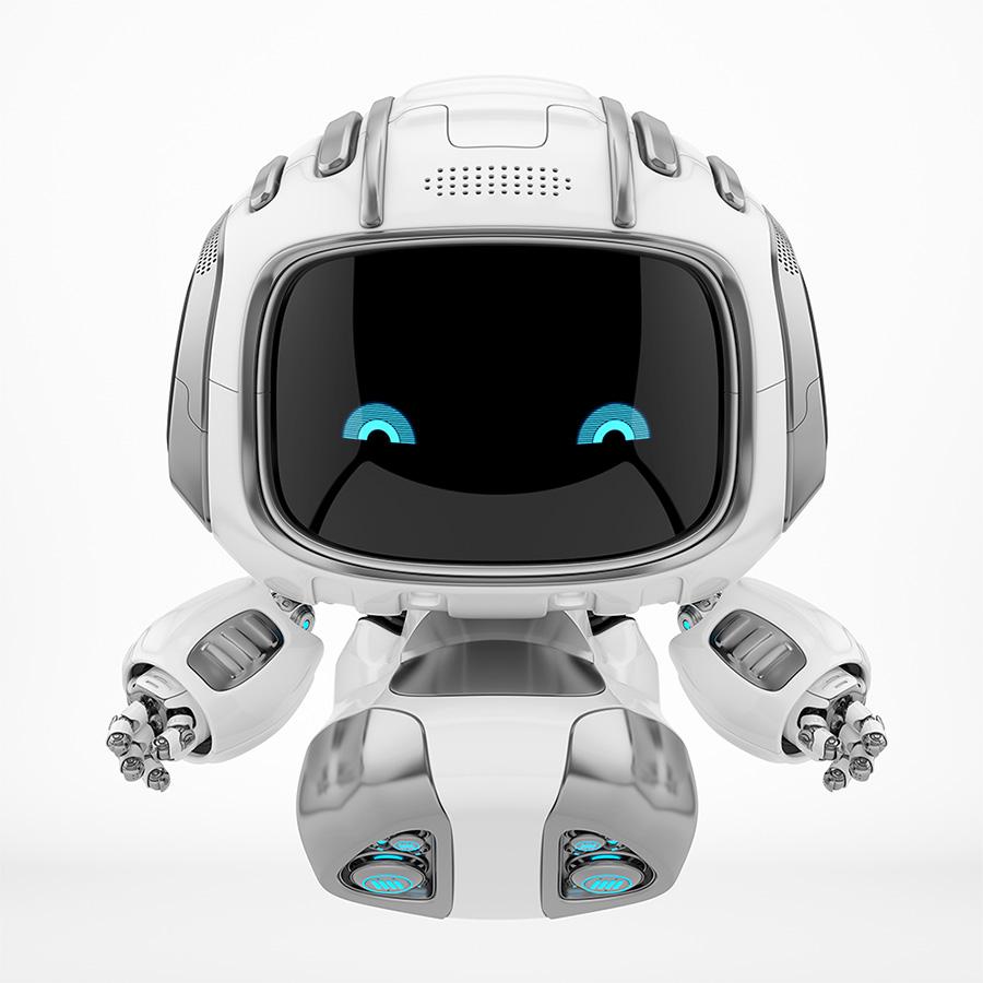 Smart cutan helper flying with blue digital eyes