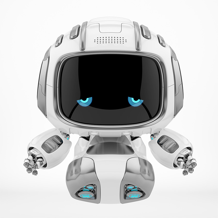 Sad robot Cutan with blue dissapointed eyes on digital face fluing