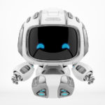 Happy, smiling with 2d eyes robot Cutan