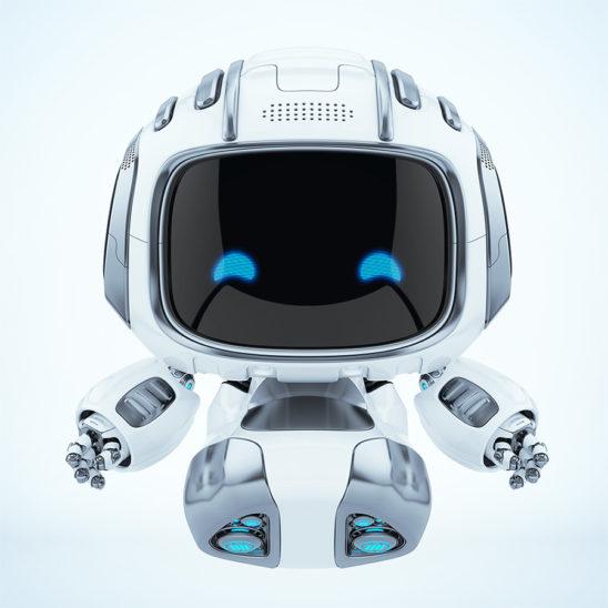 Happy, smiling with 2d eyes robot Cutan. Robotic vacuum cleaner helper