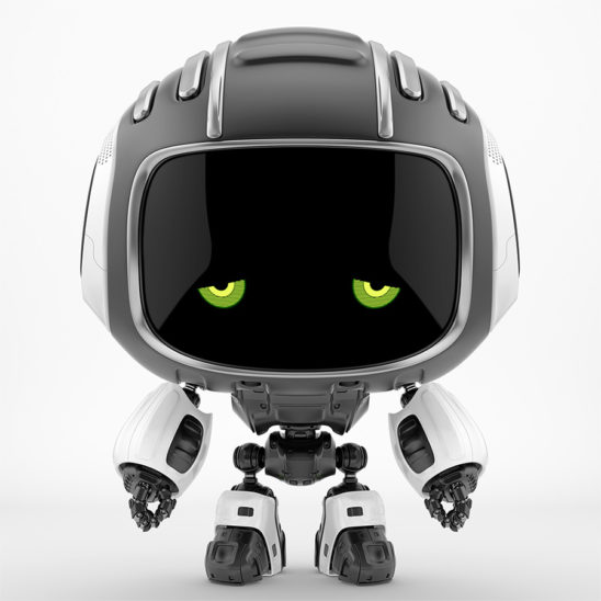 Dejected black robot Cutan with sad green eyes