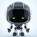 Dejected black robot Cutan with sad green eyes