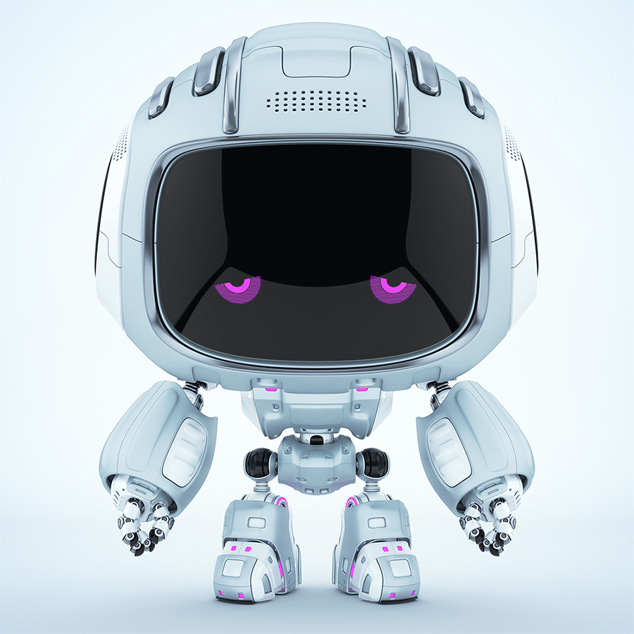 Dispirited Cutan robot with dull violet 2d eyes