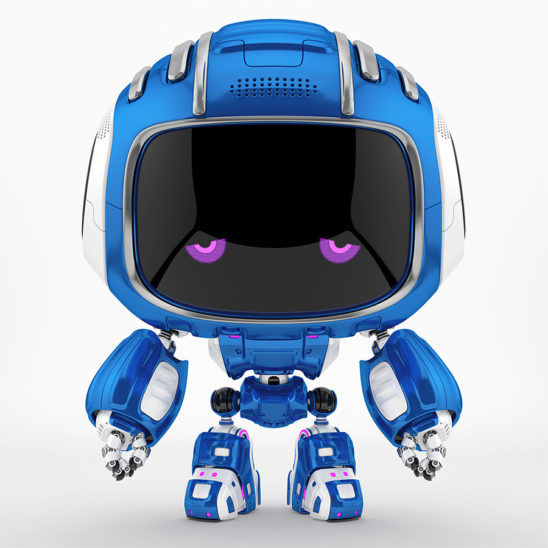 Bright blue dispirited Cutan robot with dull violet 2d eyes