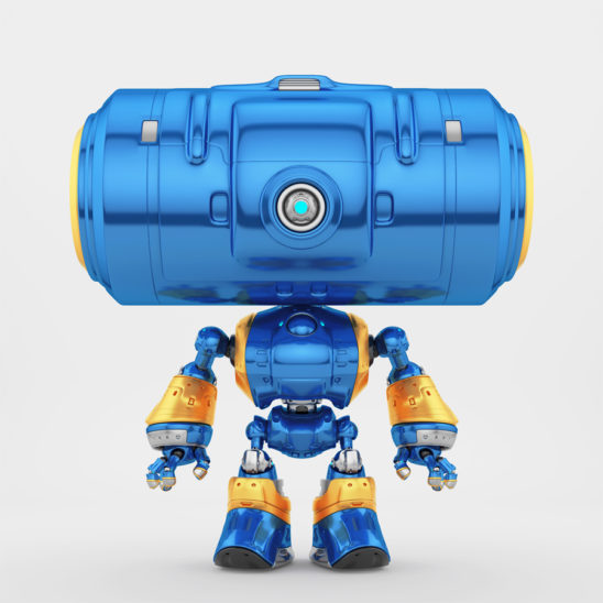 Bright blue big head robot with one centered camera for monitoring