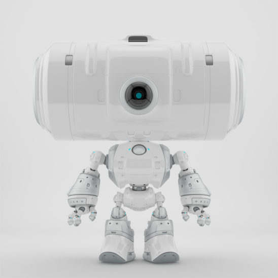 Snow white big head robot with one centered camera for monitoring
