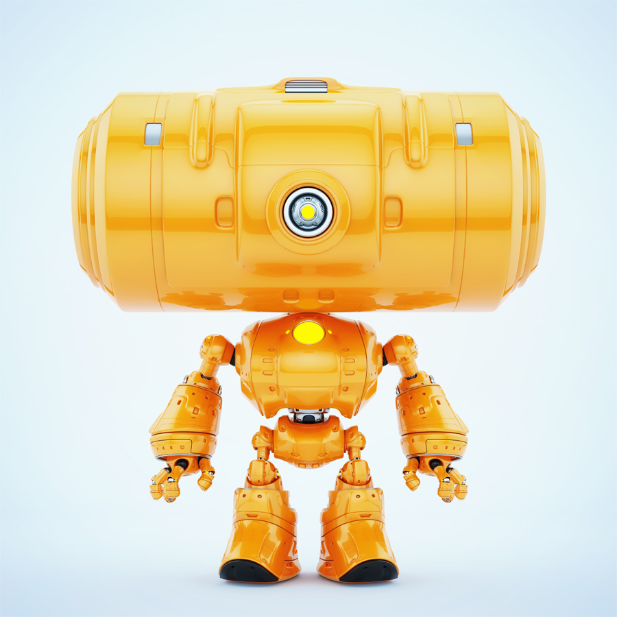 Orange big head robot with one centered camera for monitoring