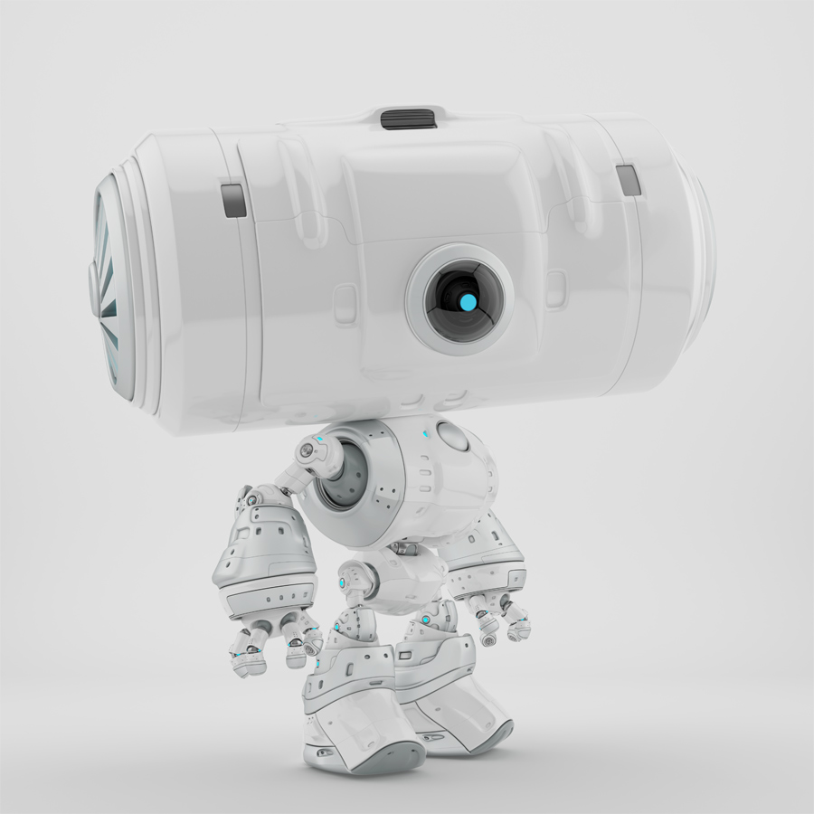 Smart snow white big headed robot in side angle