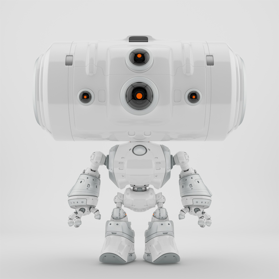 White big-headed robot with 4 eyes cameras