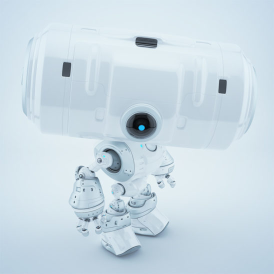 Snow white big head robot with one centered camera for monitoring, upper view